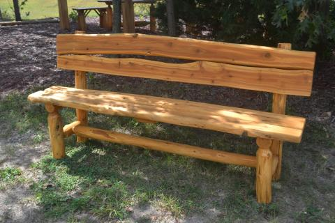 Camp Bench With Back Rustic Furniture Mall By Timber Creek