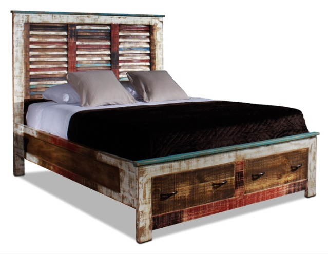 bombay hand painted storage bed rustic furniture mall by