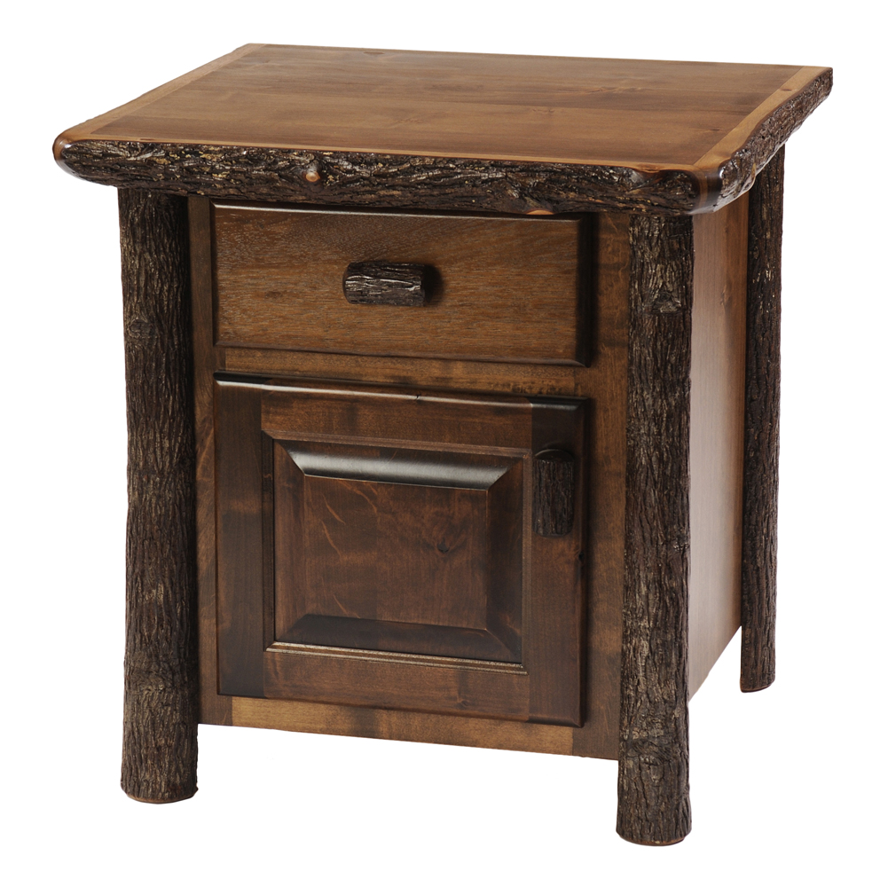 Cottage hickory enclosed nightstand rustic furniture for Rustic nightstands