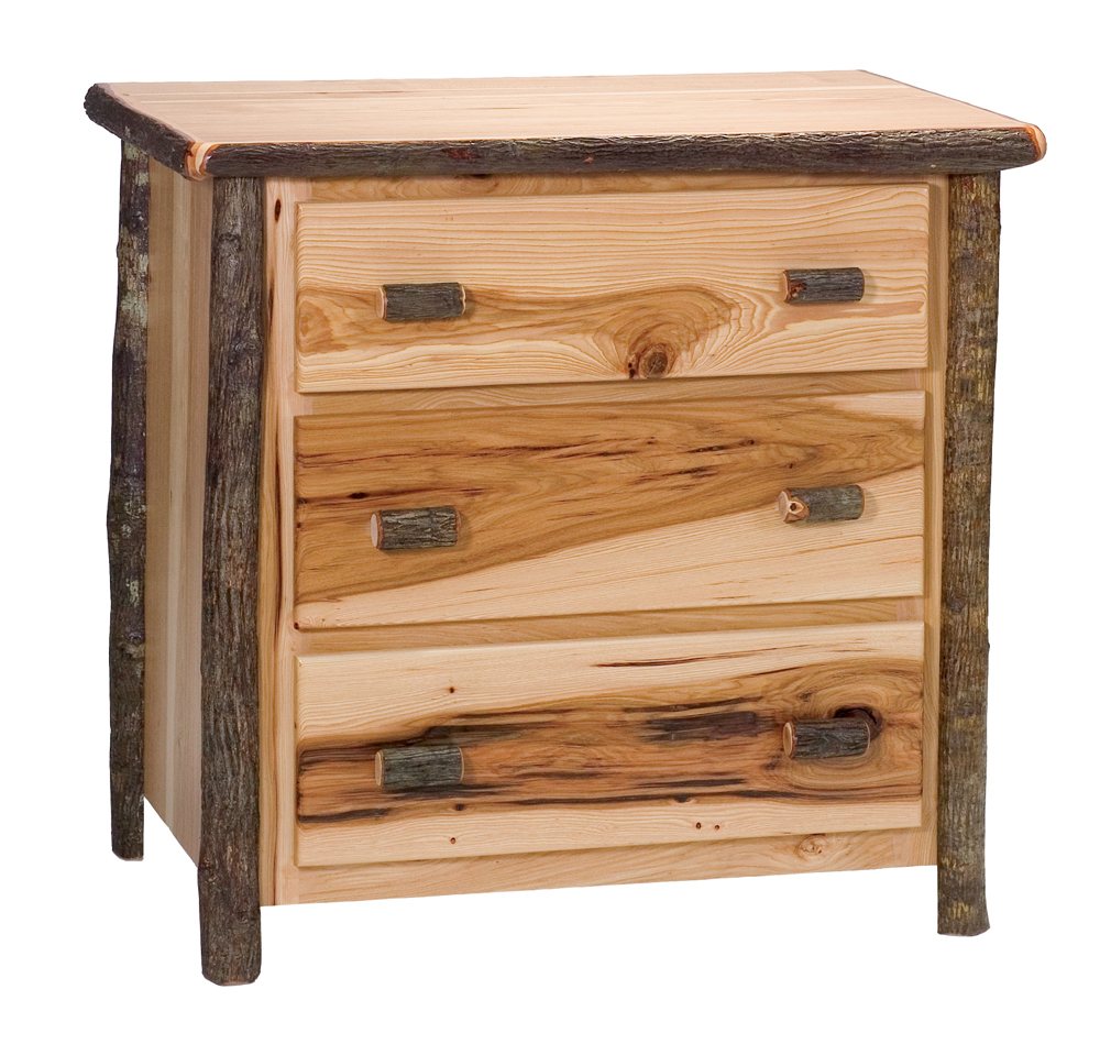 Cottage hickory 3 drawer dresser rustic furniture mall for Rustic furniture