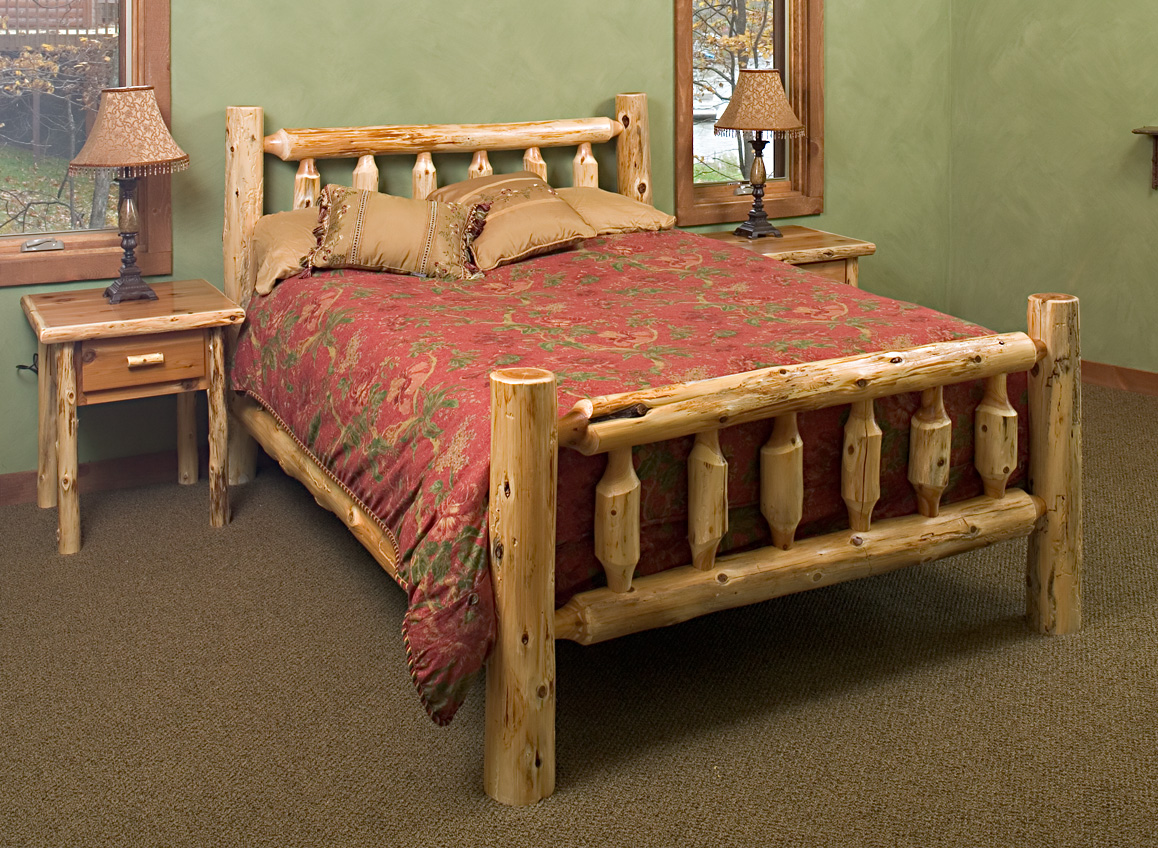 Cedar log bed kits rustic furniture mall by timber creek for Muebles oficina wks