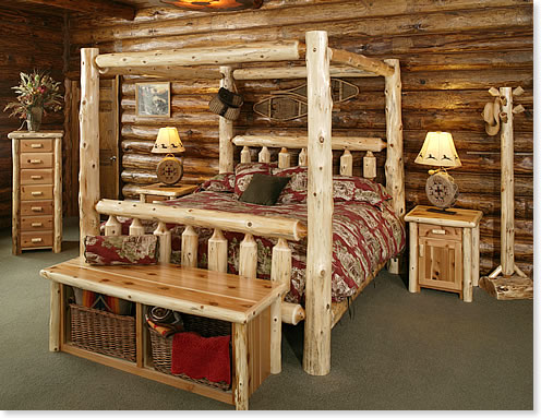 Bedroom rustic furniture mall by timber creek for Log cabin style bunk beds