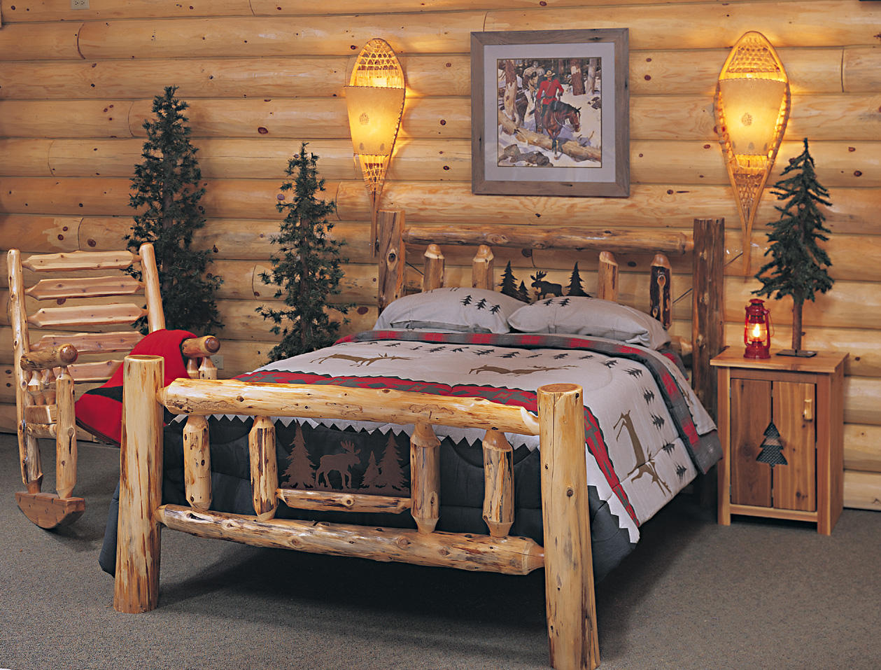 Cedar log bed kits rustic furniture mall by timber creek for Log cabin style bunk beds