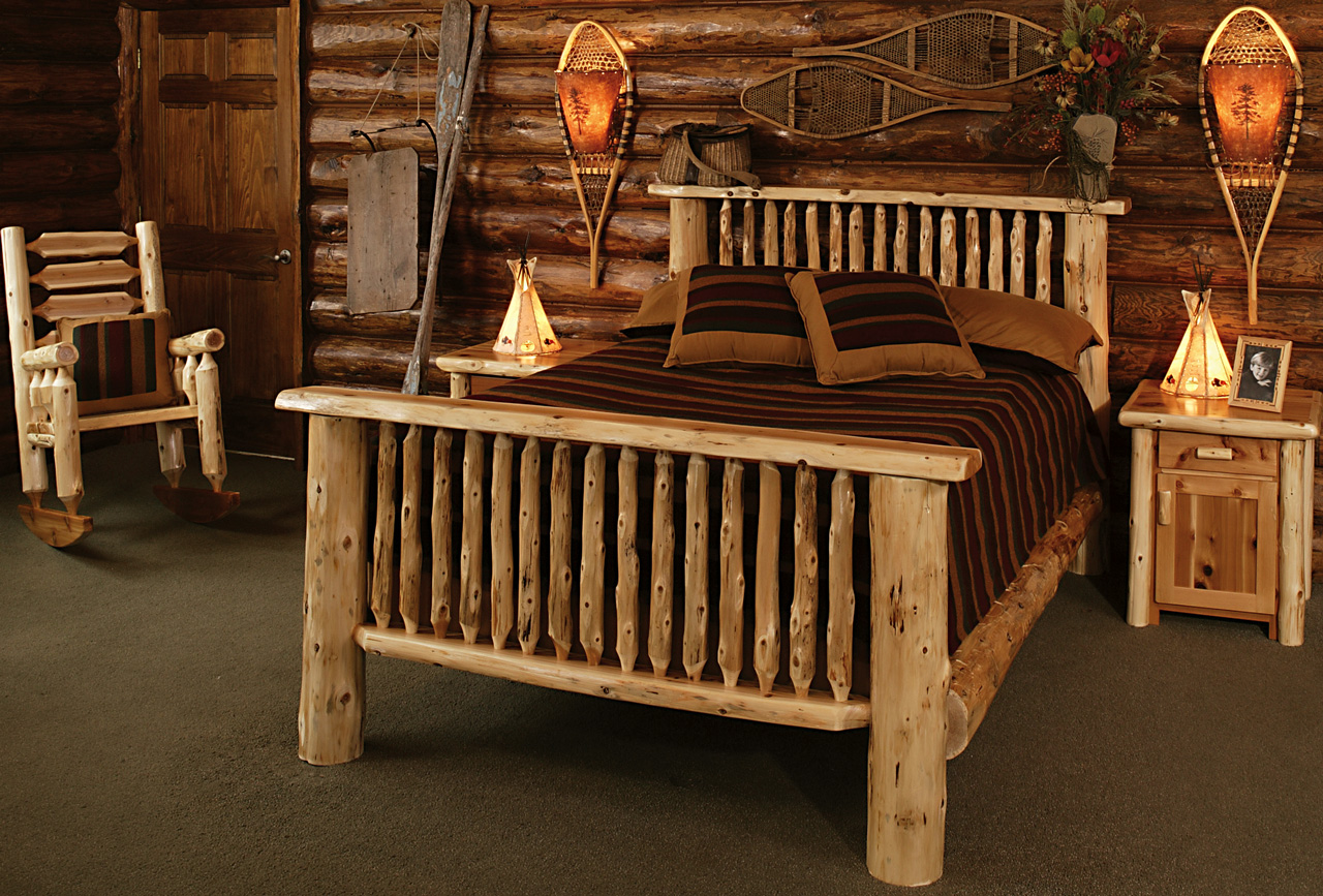 Cedar log bed kits rustic furniture mall by timber creek Pictures of rustic furniture