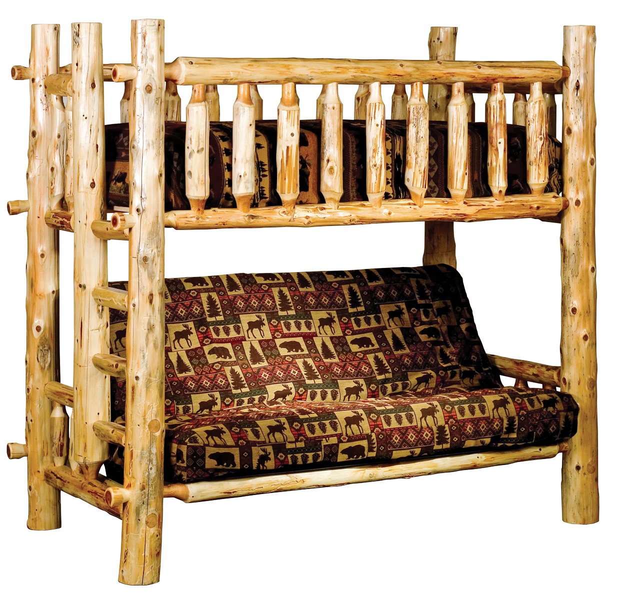 Timberland Bunk Bed With Futon Rustic Furniture Mall By Timber Creek