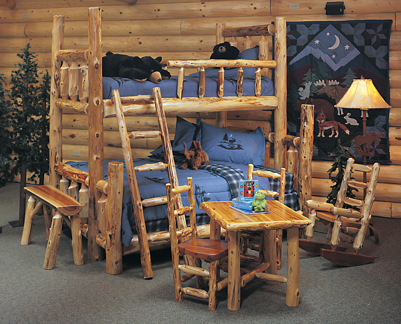 Cedar Log Bed Kits - Bunk Bed | Rustic Furniture Mall by Timber Creek
