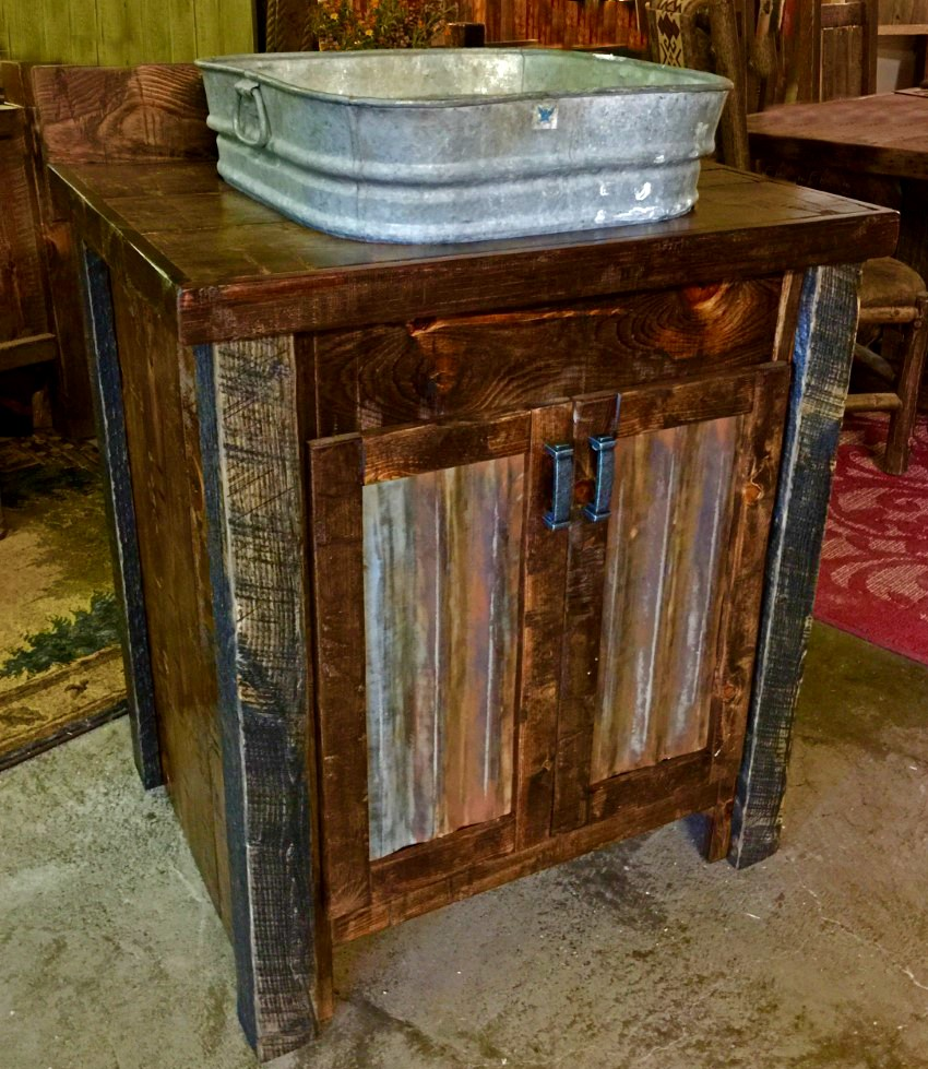 Rough Sawn Pine Cabinet With An Antique Wash Tub