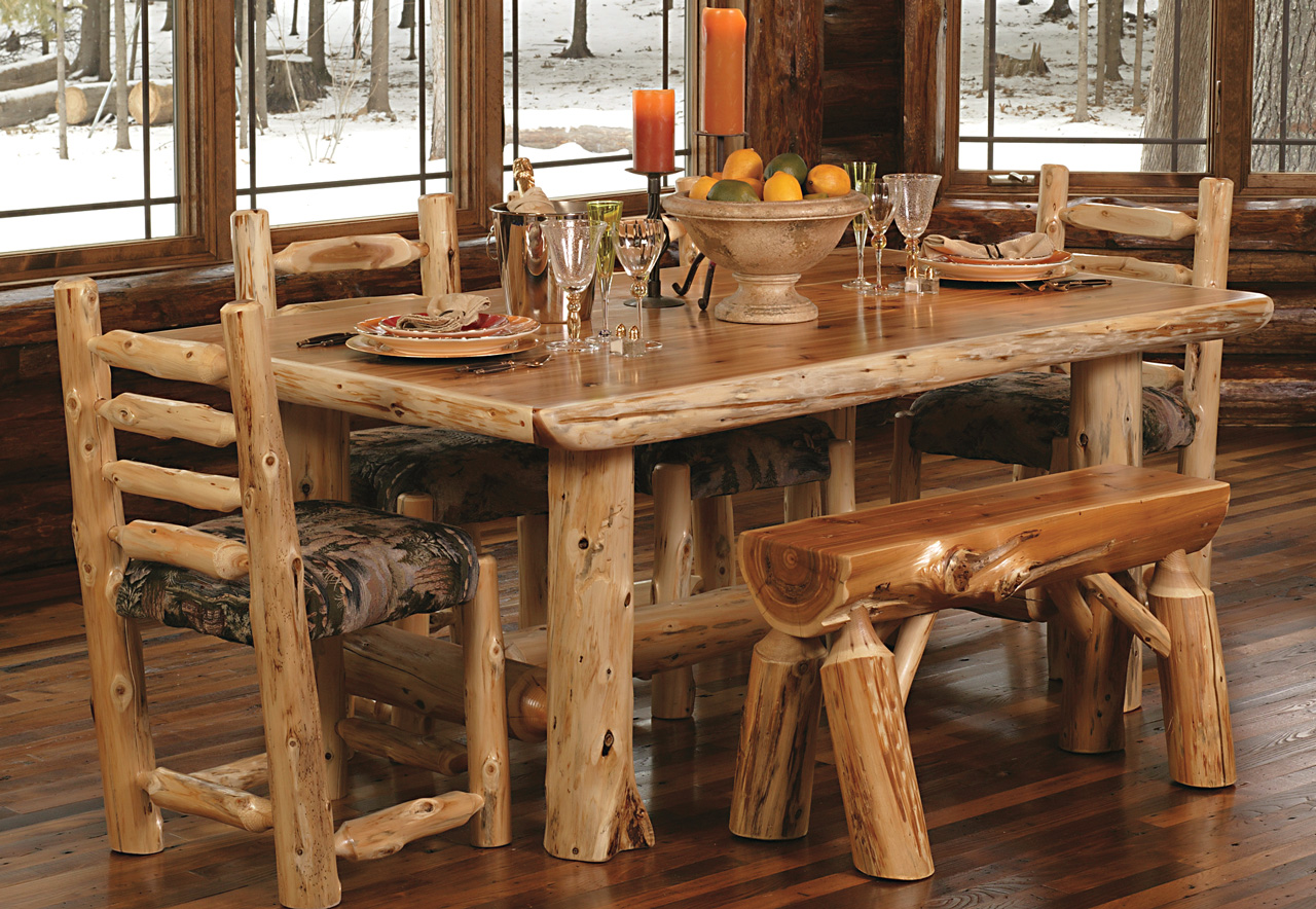 Rustic Dining Room Tables With Bench beautiful log dining room table photos - room design ideas
