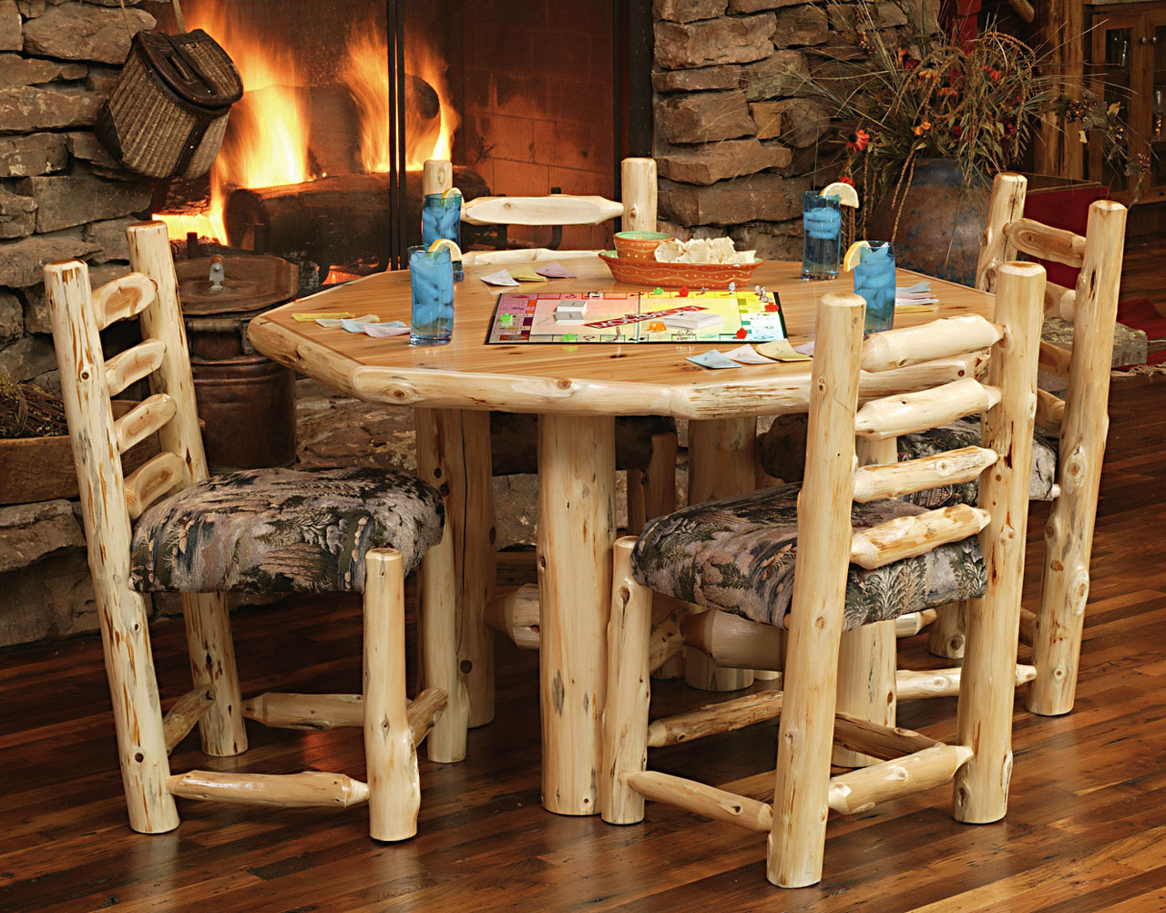 Exceptional Octagon Cedar Log Rec Table