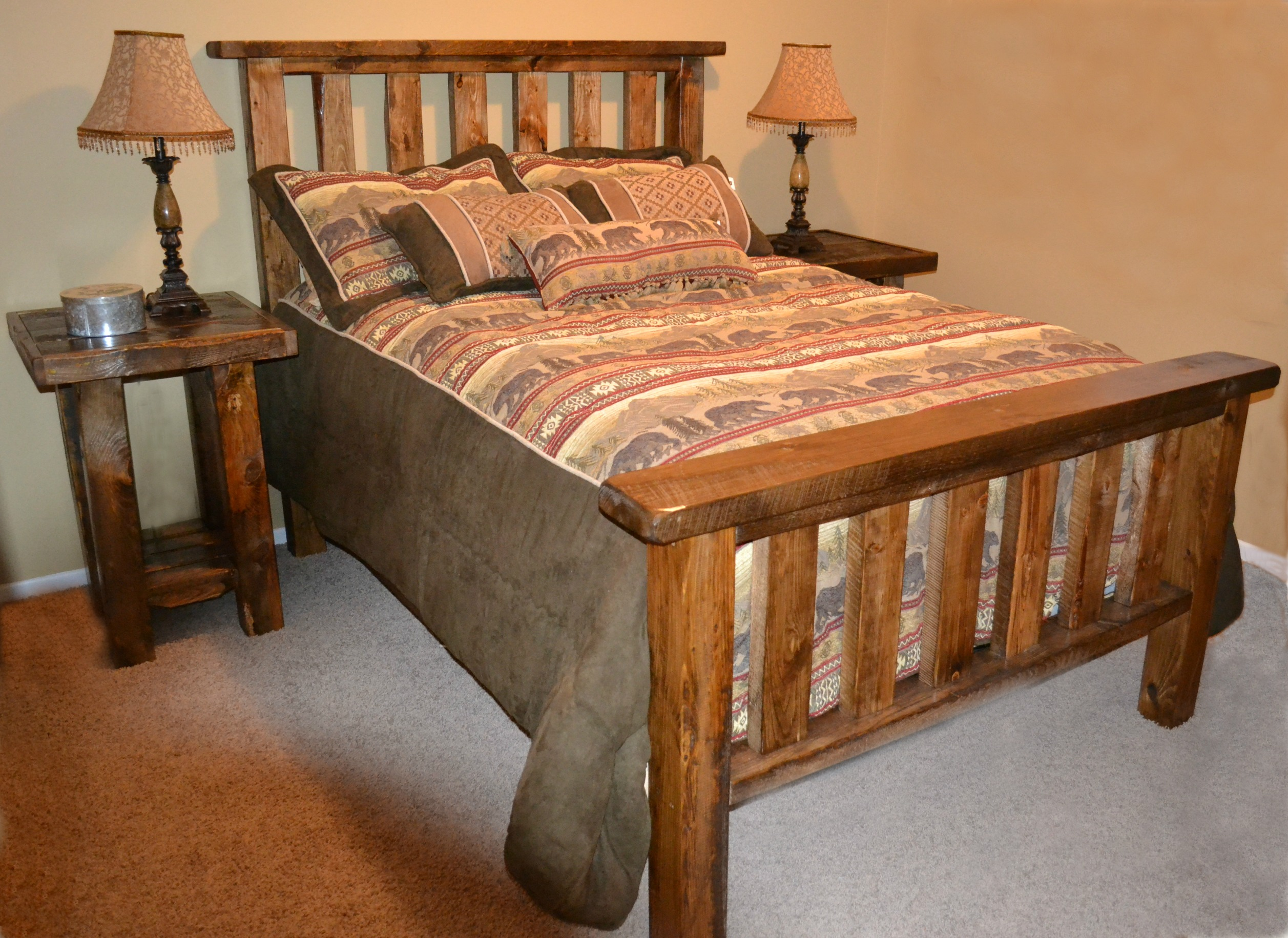rough sawn pine timber bed rustic furniture mall by