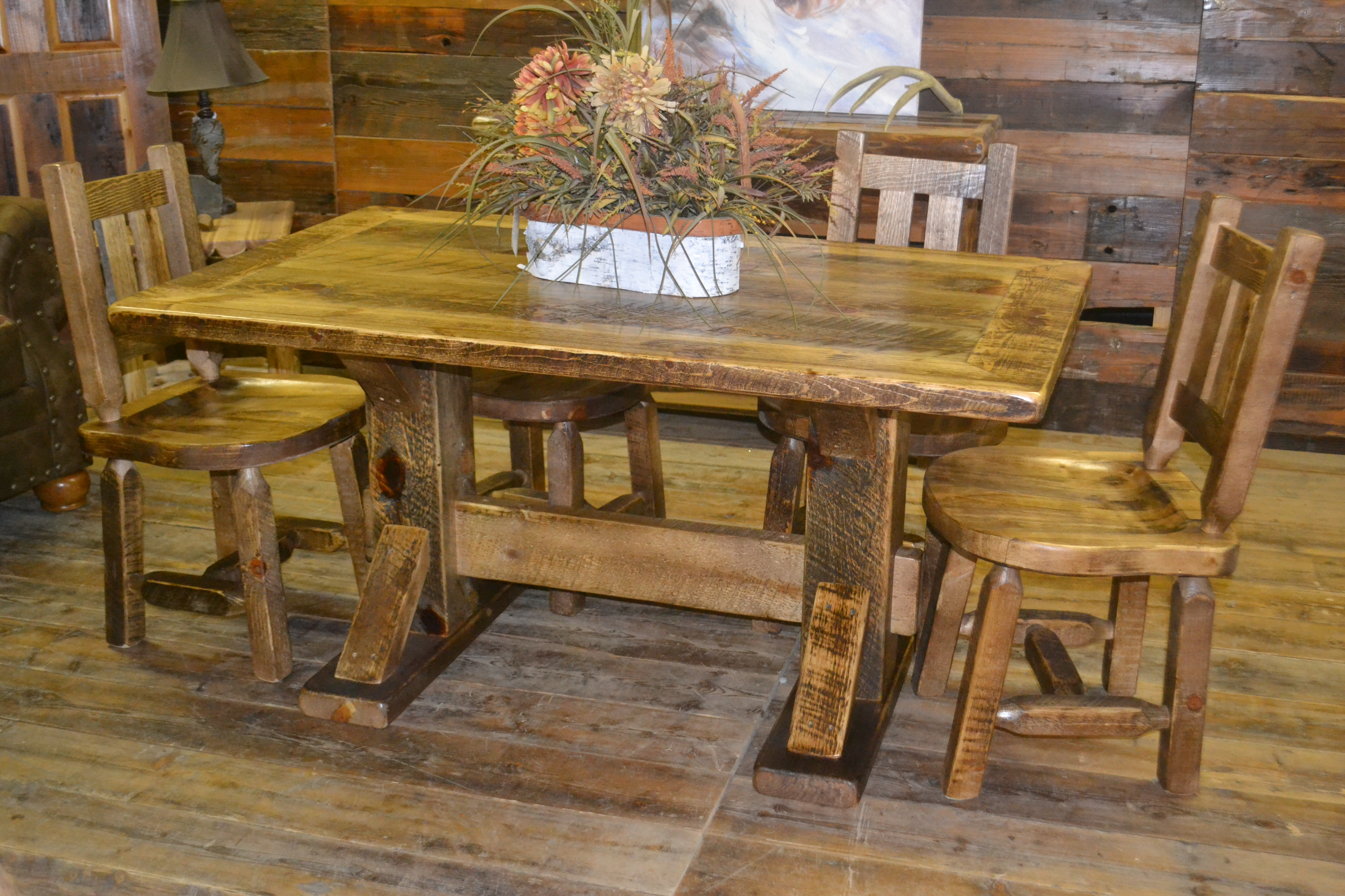 Dakota Rough Sawn Pine Dining Table Rustic Furniture