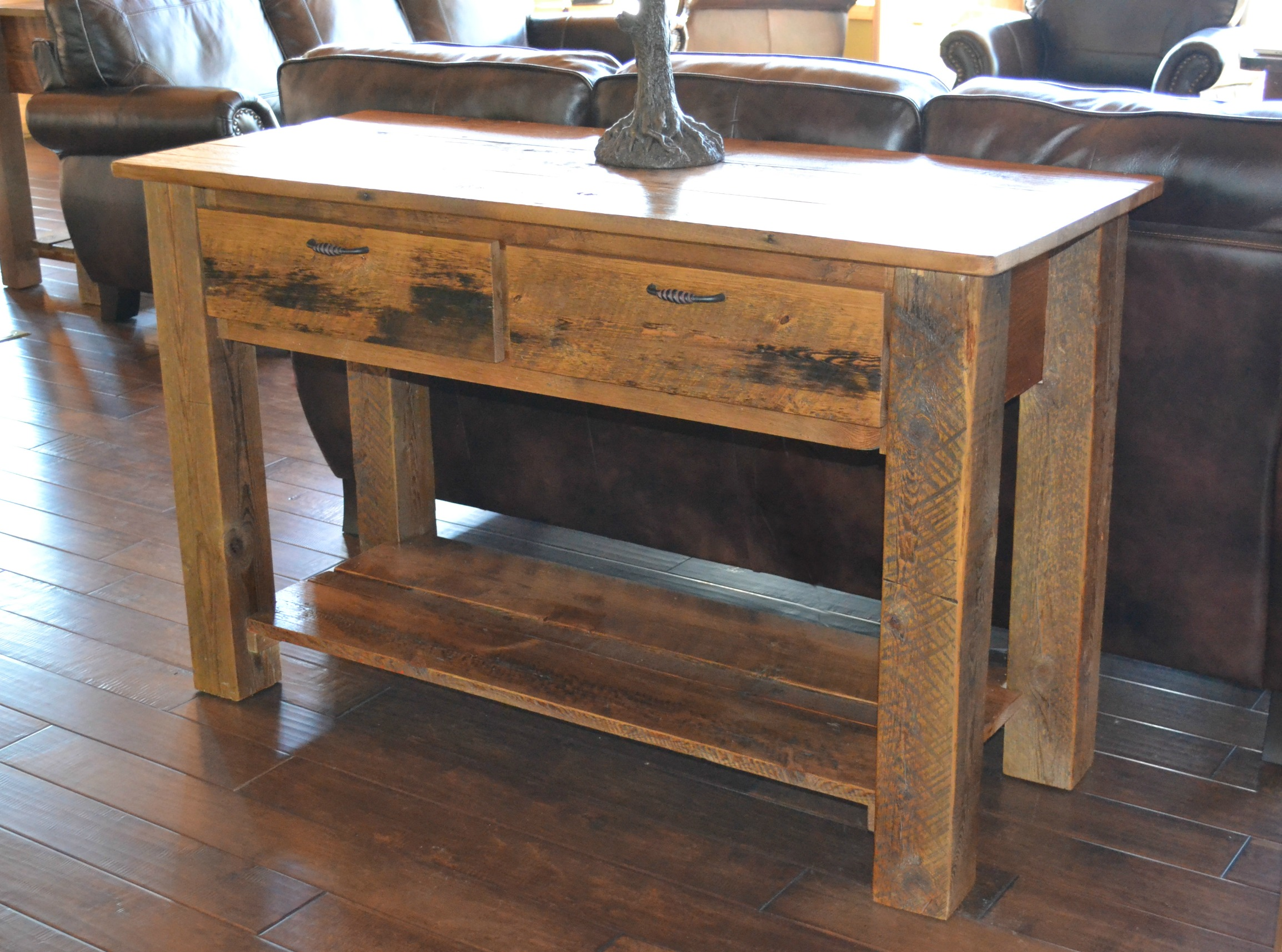 Teton 2 drawer sofa table rustic furniture mall by Furniture made from barn wood
