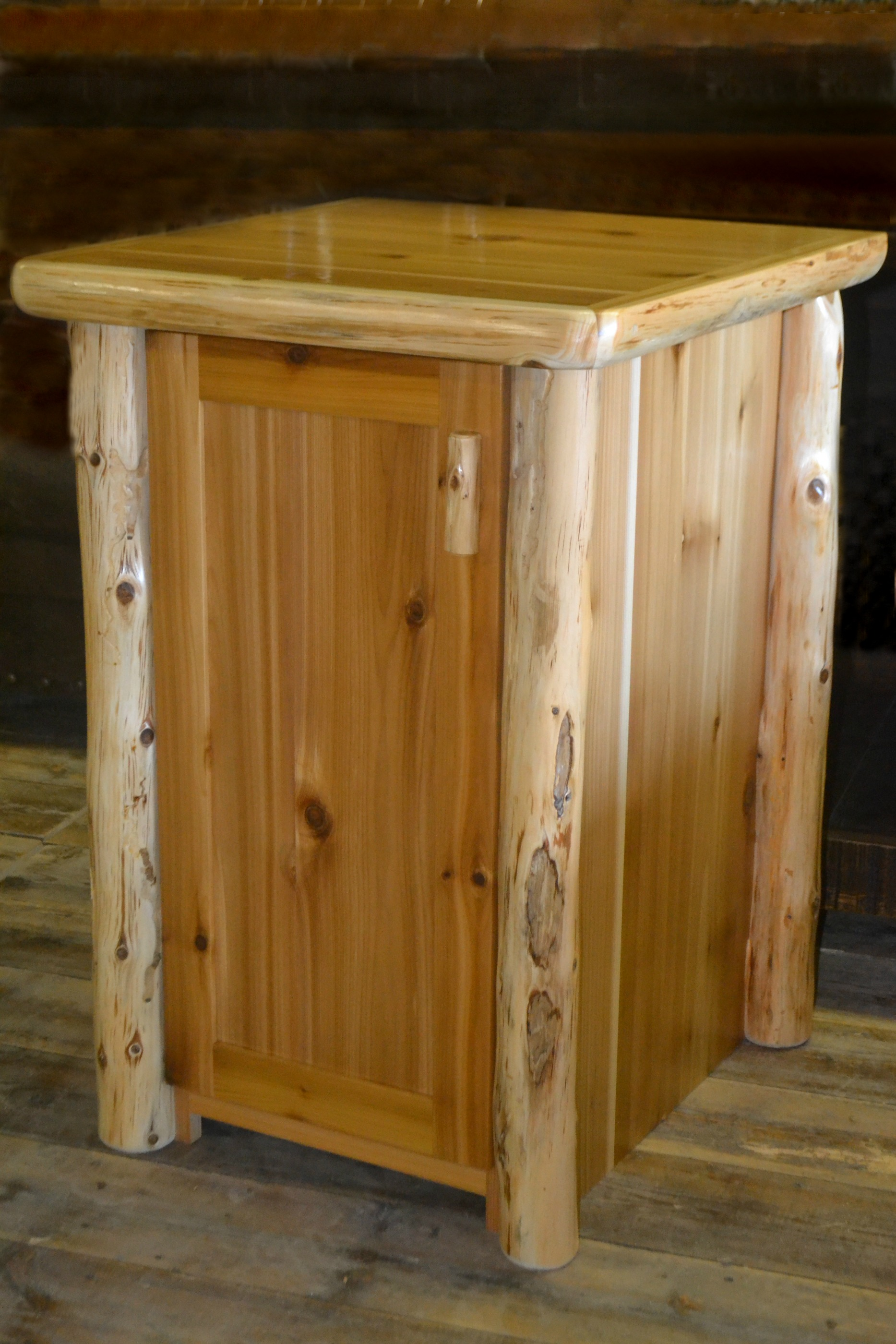 Timberland Trash Can Cabinet Rustic Furniture Mall By