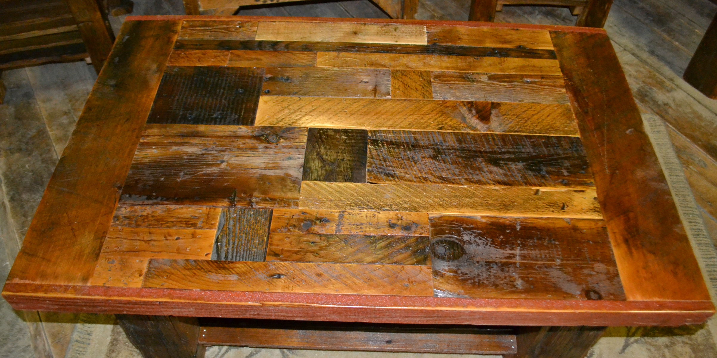 collage barnwood coffee table click