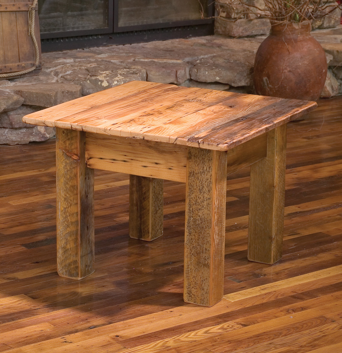 Reclaimed barn wood furniture at the galleria