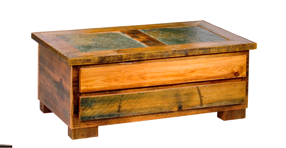Teton Drawer Tile Inlaid Coffee Table Rustic Furniture Mall By - Coffee table with tile inlay