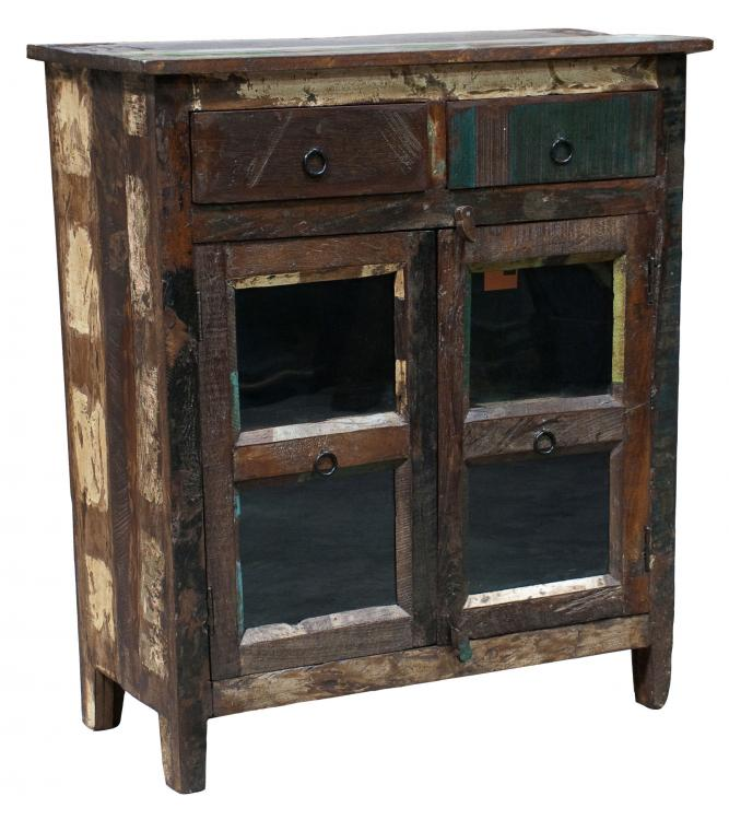 Distressed Painted 2 Drawer 2 Door Cabinet