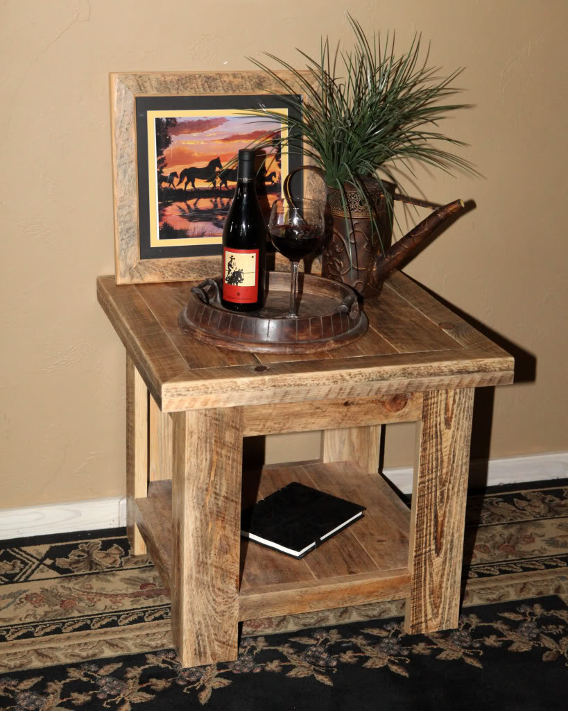 Rural Root Faux Barnwood End Table