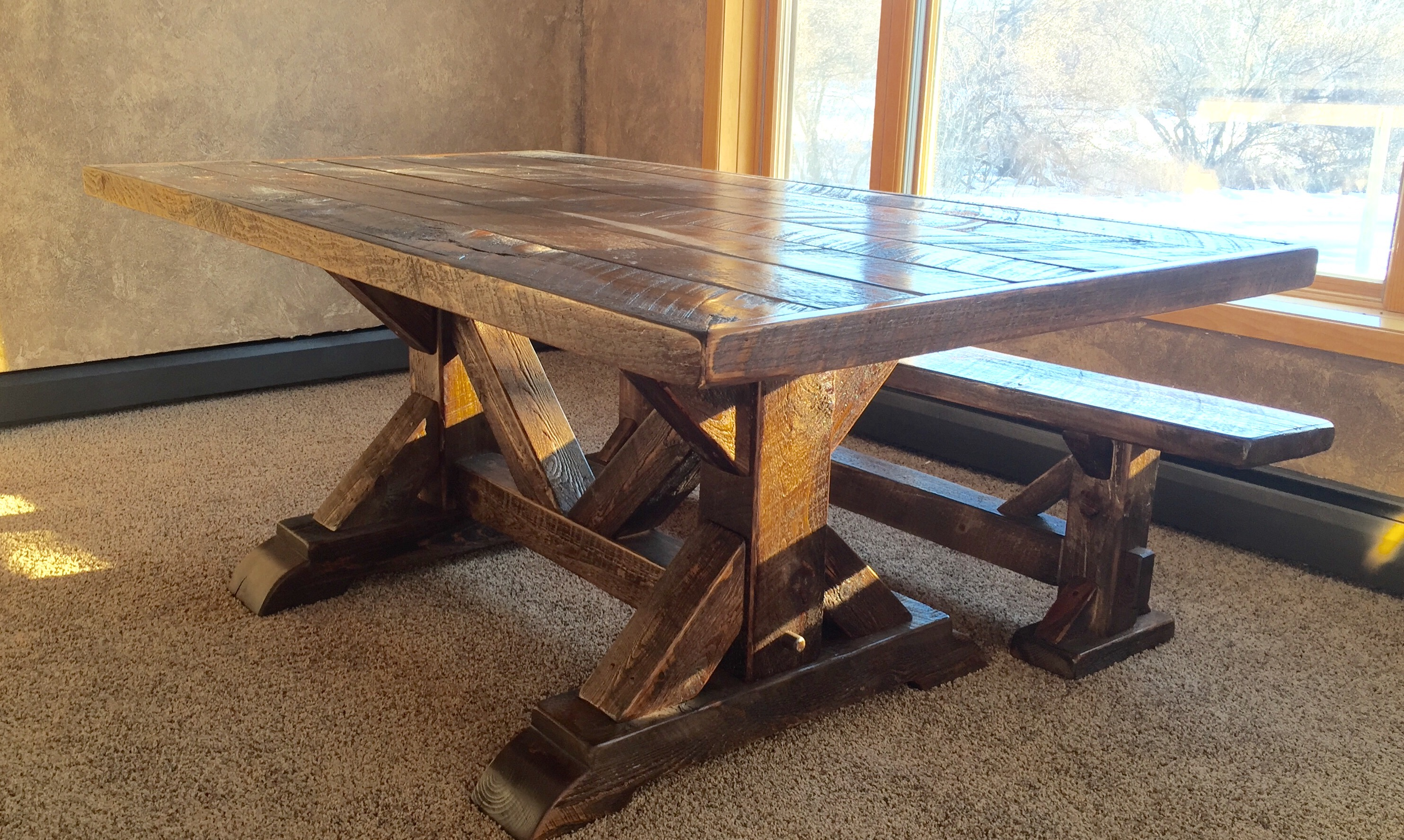"Cool Waters Rough Sawn Pine Dining Table 30""T"
