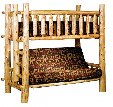 Cedar Log Timbercreek Bun Bed with Futon
