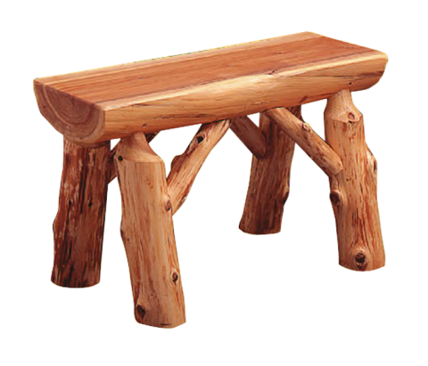 Handcrafted cedar log bench has numerous uses around the home.
