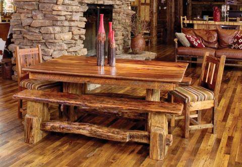 Reclaimed barn wood dining table, bench & chair