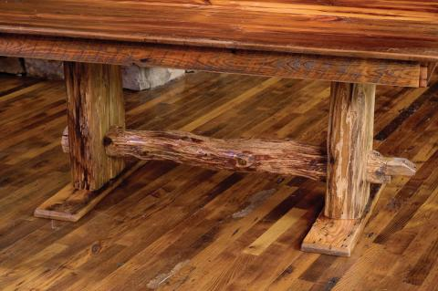 Reclaimed barn wood dining table base detail