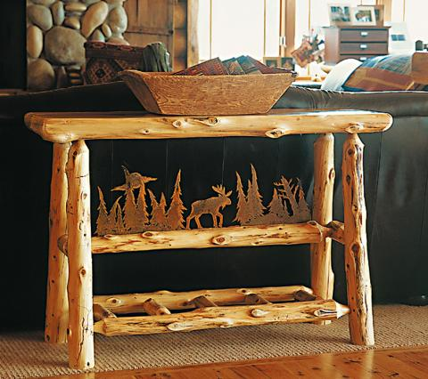 Cuyuna Sofa Table with rustic metal scene inset