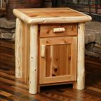 Timberland Cedar Log Nightstand - 1 drawer, 1 door
