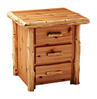 Timberland Cedar Log 3-drawer Nightstand