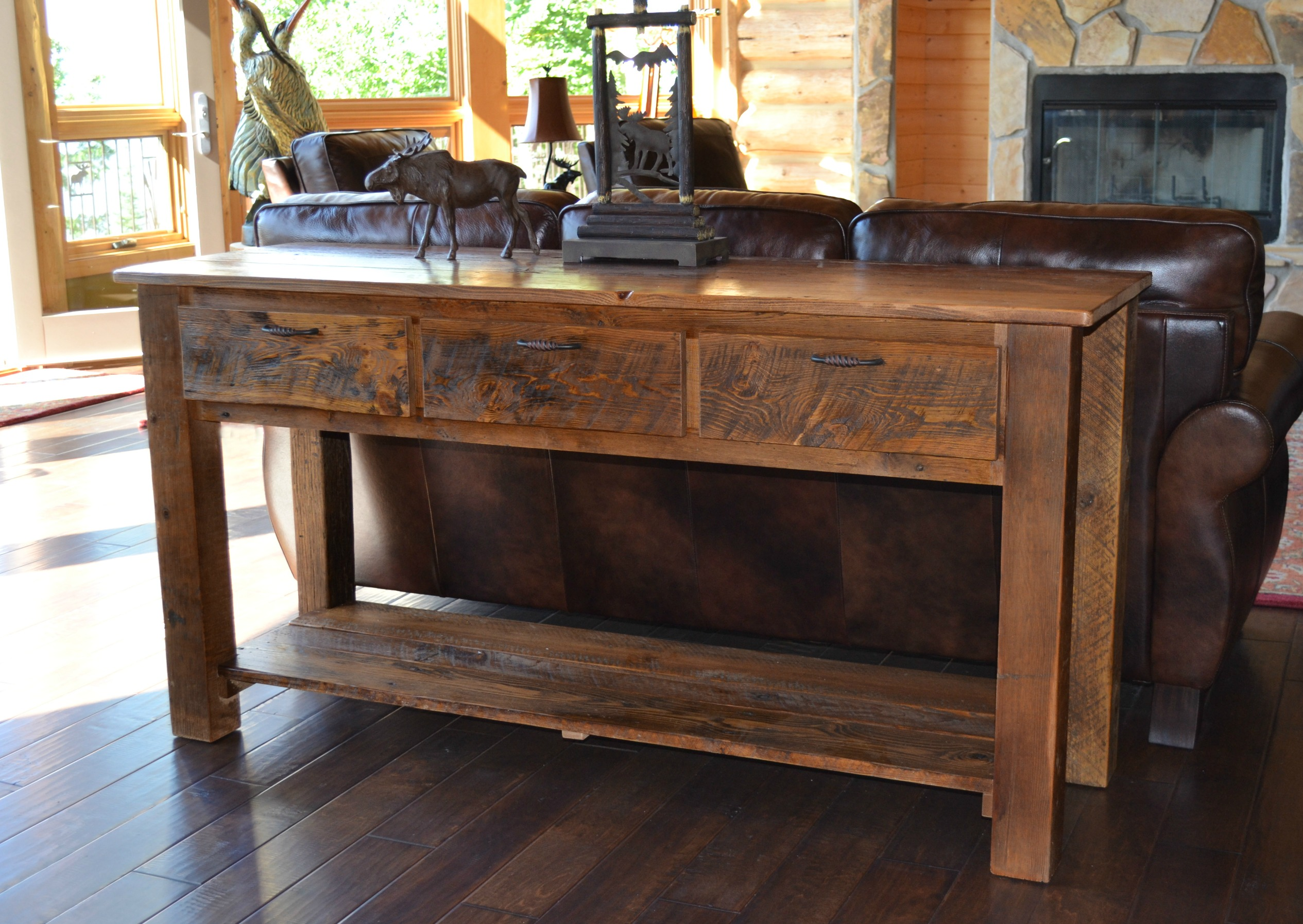 Reclaimed Teton 3 drawer Sofa Table Rustic Furniture