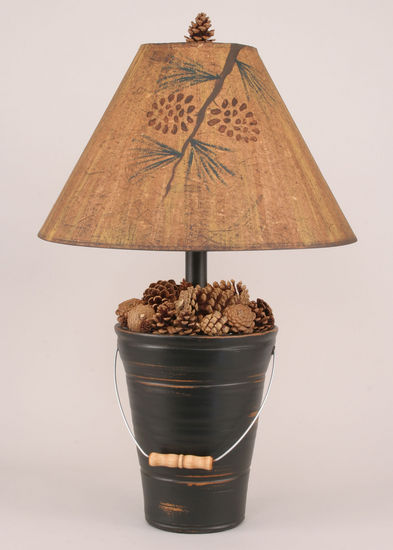Bucket Of Pine Cones Table Lamp Rustic Furniture Mall By